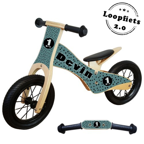 Loopfiets 2.0 black dots groen