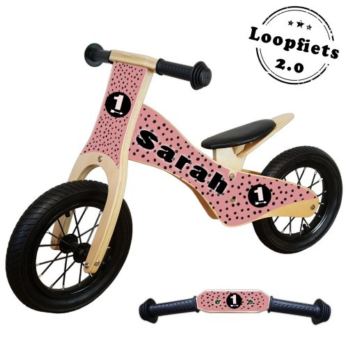 Loopfiets 2.0 black dots roze